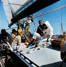 President Kennedy aboard the Manitou, with Jacqueline Kennedy and her mother, September 9, 1962.